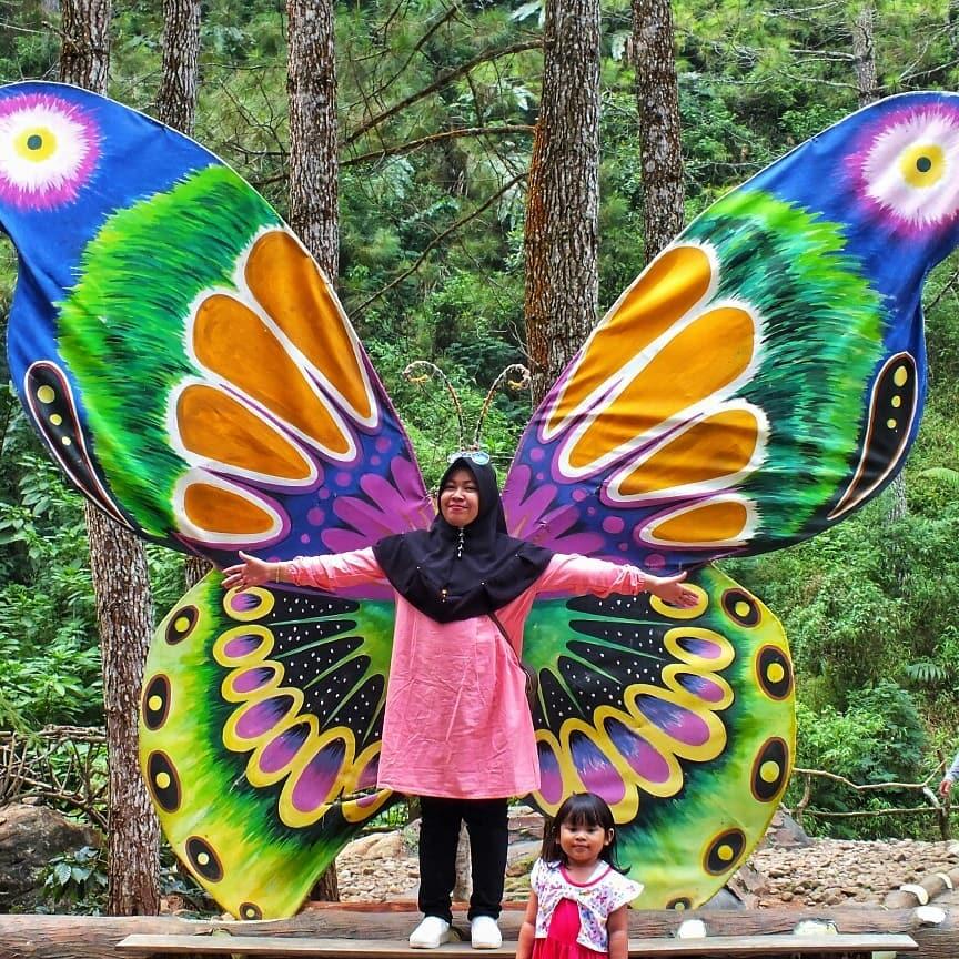 spot foto sayap kupu-kupu di wisata kampoeng ciherang