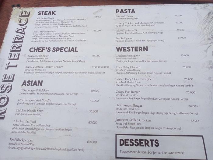harga menu makanan di d'gunungan