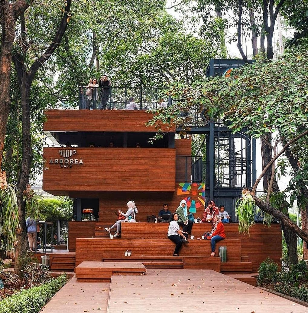 suasana di arborea cafe manggala wanabakti jakarta