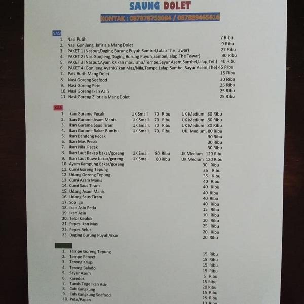 daftar menu dan harga makanan di saung dolet serang